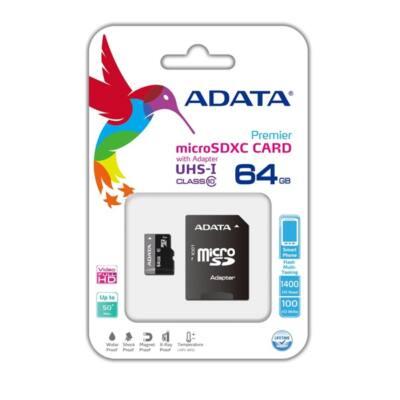 ADATA Memóriakártya MicroSDHC 64GB + Adapter UHS-I CLASS 10