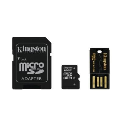 KINGSTON Memóriakártya MicroSDHC 16GB CLASS4 + Kártyaolvasó