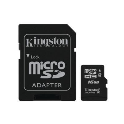 KINGSTON Memóriakártya MicroSDHC 16GB CLASS 4 + Adapter