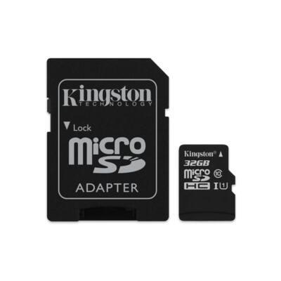 KINGSTON Memóriakártya MicroSDHC 32GB CL10 UHS-I Canvas Select (80/10) + Adapter