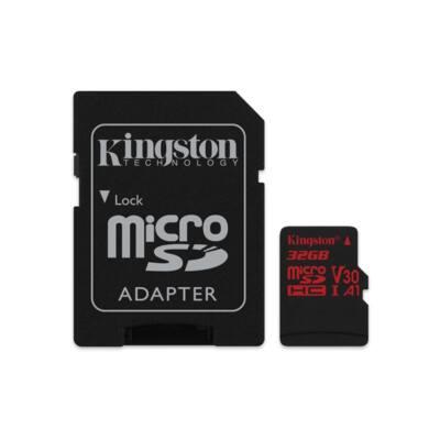 KINGSTON Memóriakártya MicroSDHC 32GB U3 UHS-I V30 A1 Canvas React (100/70) + Adapter