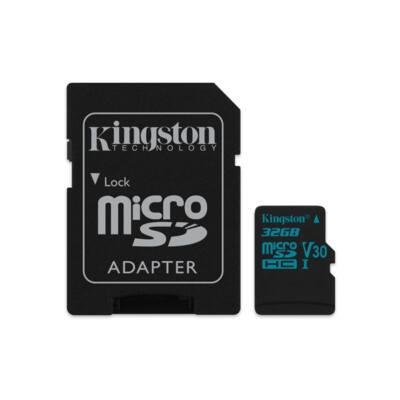 KINGSTON Memóriakártya MicroSDHC 32GB U3 UHS-I V30 Canvas Go (90/45) + Adapter