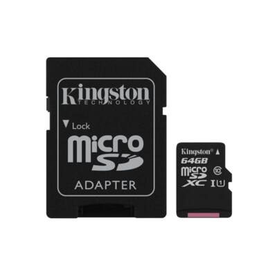 KINGSTON Memóriakártya MicroSDXC 64GB CL10 UHS-I Canvas Select (80/10) + Adapter