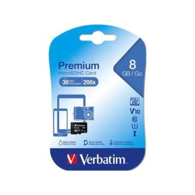 VERBATIM Memóriakártya, Micro SDHC, 8GB, Class 10