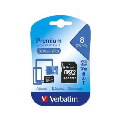VERBATIM Memóriakártya, Micro SDHC, 8GB, Class 10, adapterrel
