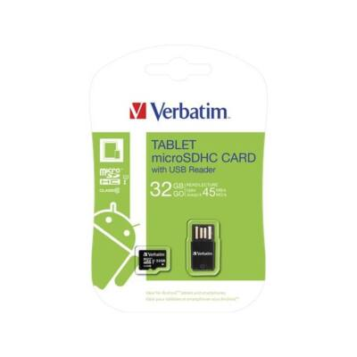 "VERBATIM Memóriakártya, microSDHC, 32GB, Class 10 UHS-I, 45/10MB/sec, ""Tablet"""