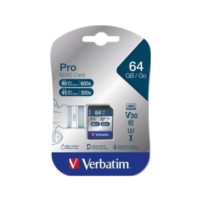 "VERBATIM ""PRO"" Memóriakártya, SDXC, 64GB, Class 10 UHS-I, 90/45MB/sec"