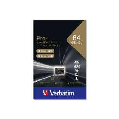 "VERBATIM ""PRO+"" Memóriakártya, microSDXC, 64GB, Class 10 UHS I, adapterrel"